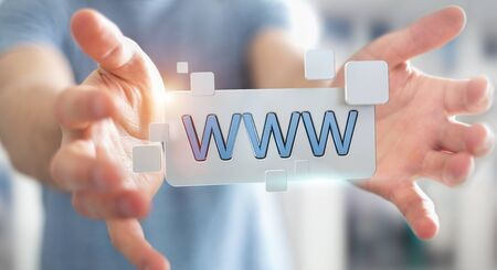find: Businessman using tactile interface web address bar to surf on internet 3D rendering Stock Photo