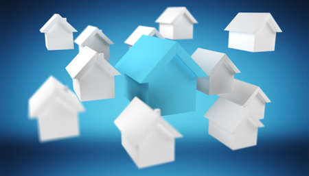 3D rendered small white and blue houses on blue background Stock Photo