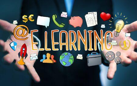 application university: Businessman on blurred background holding hand-drawn e-learning presentation Stock Photo