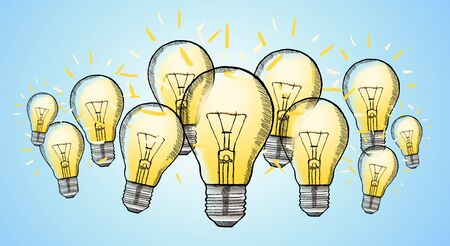 Hand drawn lightbulb with multimedia icons flying around on white background