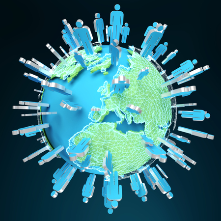 contact: 3D rendering group of icons people surrounding planet Earth on blue background