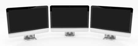 lcd display: Triple modern silver and black metallic computer on white background 3D rendering Stock Photo