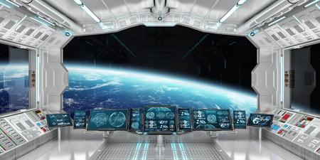 Intérieur de la vaisseau spatial avec vue sur l'espace et la planète Terre Les éléments de rendu 3D de cette image fournis par la NASA Banque d'images - 77444390
