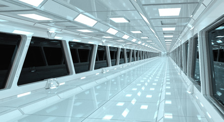 Spaceship white corridor with view on a black window 3D rendering