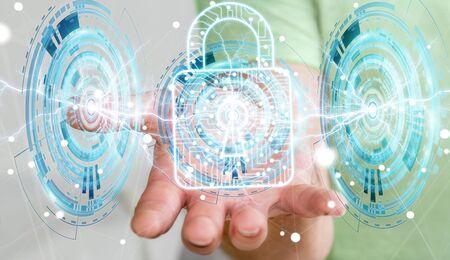 fingers: Businessman on blurred background using digital padlock to secure his datas 3D rendering