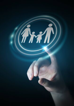 help: Businesswoman on blurred background holding family interface in his hand 3D rendering