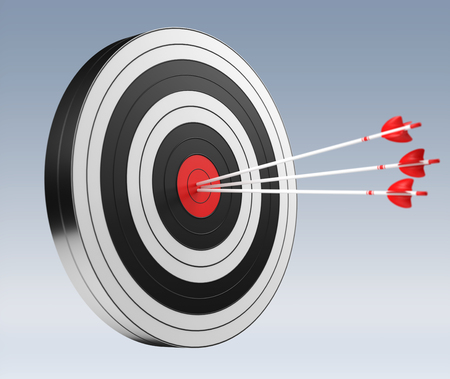 3D rendering target black white and red target with arrows on grey background