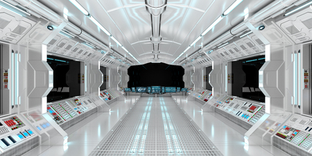 Spaceship interior with view on black window 3D rendering elements of this image furnished by NASA