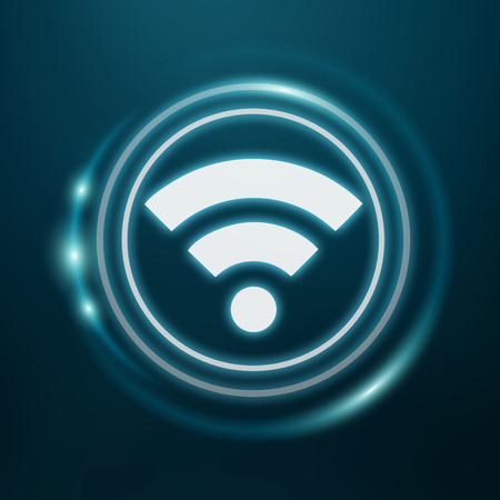 screen: White and glowing blue wifi icon 3D rendering on dark background