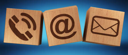 contact: Digital wooden cube contact icon 3D rendering on blue background Stock Photo