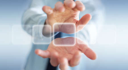 touchscreen: Businessman using tactile interface web address bar to surf on internet 3D rendering Stock Photo