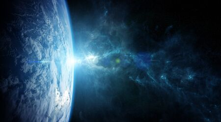 View of the planet Earth from space during a sunrise 3D rendering Stock Photo