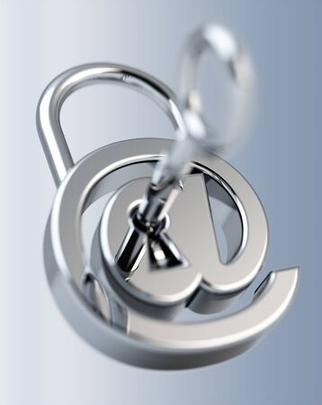 contraseña: Digital arobase padlock 3D rendering on grey background