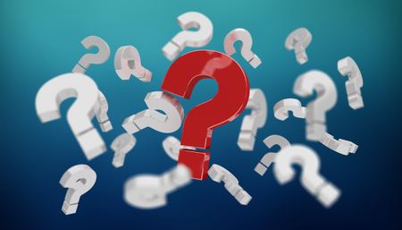 answer: 3D rendering question marks on blue background Stock Photo