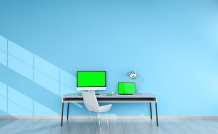 blank screen: Modern blue desktop interior with computer and devices 3D rendering