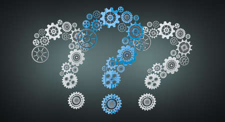 answer: 3D rendering gear icons question mark flying on dark background