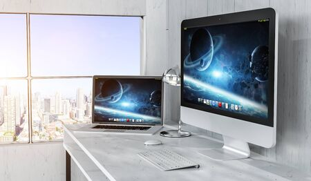 home: Modern desktop interior with computer and devices and city top view 3D rendering Stock Photo