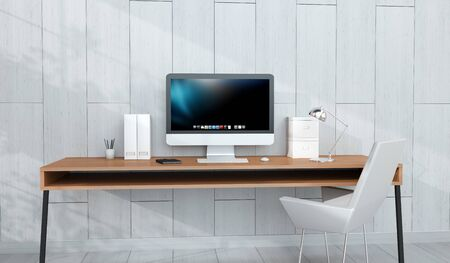 mobile: Modern wooden workplace interior with computer and devices on desk 3D rendering