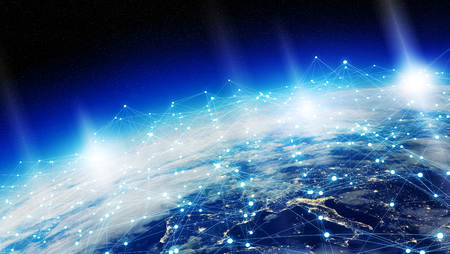 screen: Data exchange and global network over the world 3D rendering Stock Photo