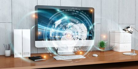 futuristic interior: Office with modern devices and digital datas on hologram screens 3D rendering Stock Photo