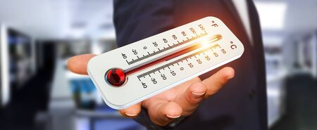 fingers: Businessman checking the temperature rise with a thermometer 3D rendering