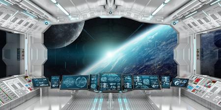 Ruimteschipbinnenland met mening over ruimte en aarde het 3D teruggeven Stockfoto - 77927753