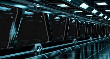 stars: Spaceship black corridor with a long black window 3D rendering Stock Photo