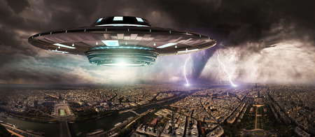 Metal and silver UFO invasionover planet earth city 3D rendering Stock Photo