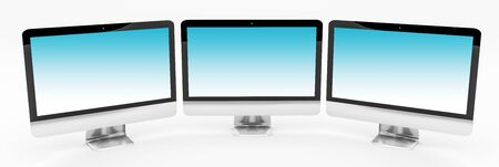screen: Triple modern silver and black metallic computer on white background 3D rendering Stock Photo