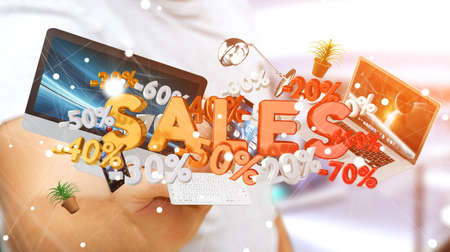 Businessman on blurred background touching sales icons with a pen 3D rendering