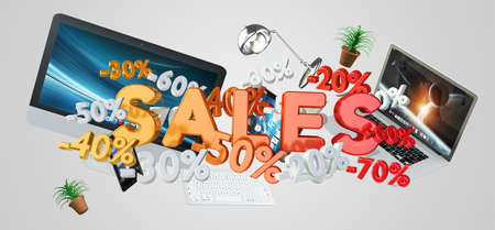 Sales icons percent and devices floating in the air 3D rendering Stock Photo