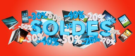commerce: Sales icons percent and devices floating in the air 3D rendering Stock Photo