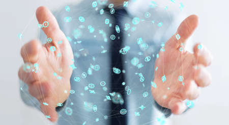 hand: Businessman on blurred background using flying network connection interface 3D rendering Stock Photo