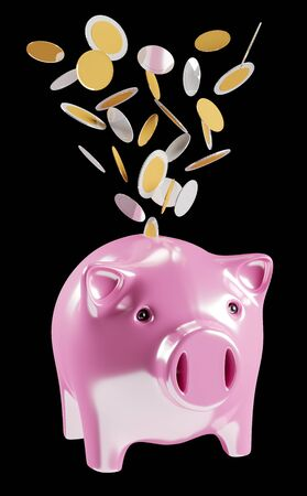 golden: Piggy bank with flying coins going inside 3D rendering on black background