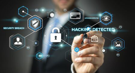 cyber defence: Businessman on blurred background using antivirus to block a cyber attack 3D rendering