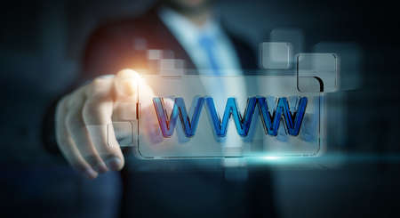 internet search: Businessman using tactile interface web address bar to surf on internet 3D rendering Stock Photo