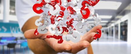 silver: Businessman on blurred background using 3D rendering question marks