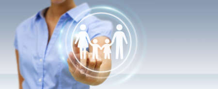 security symbol: Businesswoman on blurred background holding family interface in his hand 3D rendering