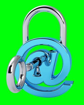 Digital arobase padlock 3D rendering on green background