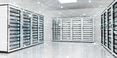 contemporary: White and blue abstract network on server room data center 3D rendering