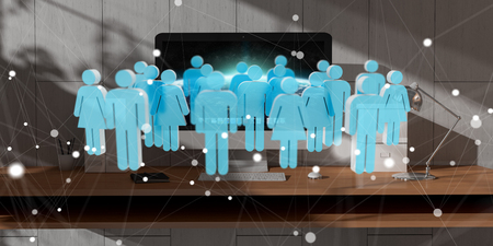 contact: White and blue group of people flying over modern desktop interior 3D rendering