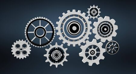 Floating gear grey icons on dark background 3D rendering