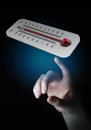 Homme d'affaires vérifiant l'élévation de température avec un thermomètre rendu 3D Banque d'images