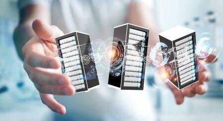huge: Businessman on blurred background connecting servers room data center 3D rendering