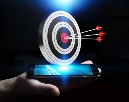 fingers: Businessman on blurred background using 3D rendering target Stock Photo