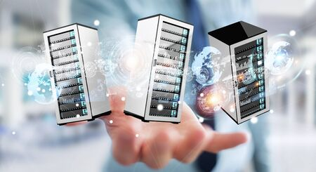 hardware: Businessman on blurred background connecting servers room data center 3D rendering