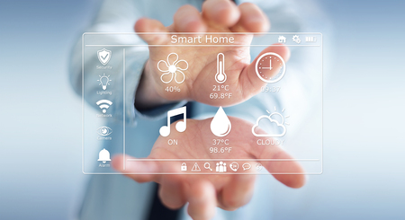 electronic: Businessman on blurred background using smart home digital interface 3D rendering