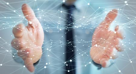 Dot vliegen netwerk in handen van zakenman op onscherpe achtergrond 3D-rendering