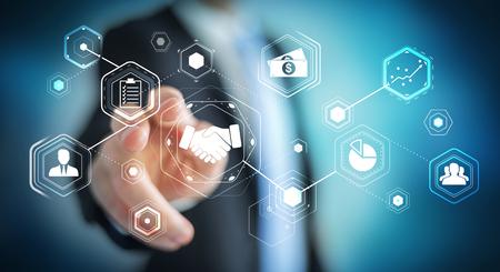 fingers: Businessman on blurred background using digital presentation for partnership business 3D rendering Stock Photo