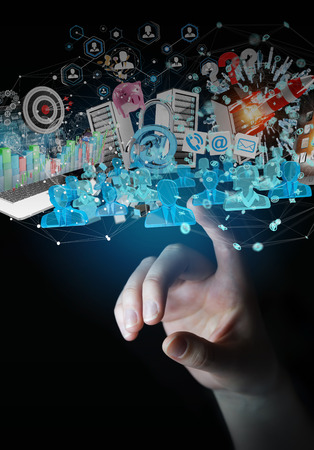 hand: Businessman on blurred background connecting devices and business objects together 3D rendering